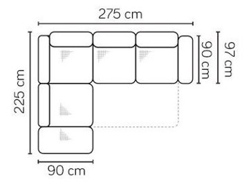 Ülőbútor, a tárgyalt sarokkanapé mérettáblája